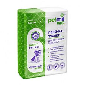 Пеленки для собак впитывающие Мedmil Petmil WC с суперабсорбентом 60х40 см, 5 штук