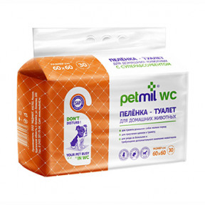 Пеленки для собак впитывающие Мedmil Petmil WC с суперабсорбентом 60х60 см, 30 штук