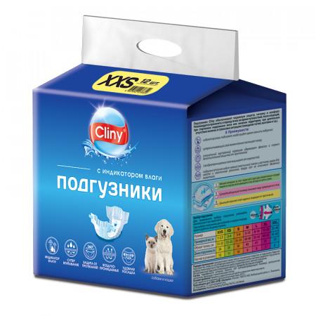 Подгузники для собак Cliny, 1-2,5 кг, размер XXS, 12 штук