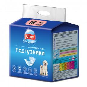 Подгузники для собак Cliny, 5-10 кг, размер M, 9 штук