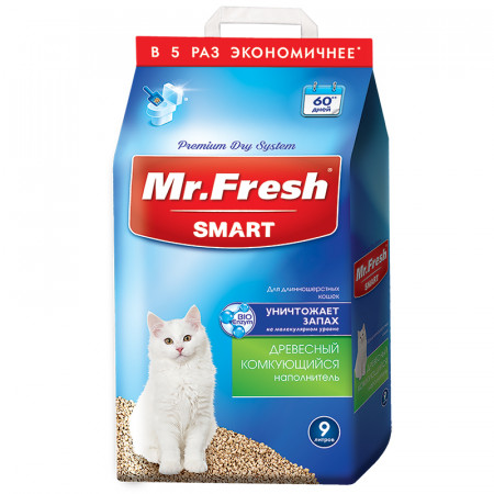 Наполнитель комкующийся Mr. Fresh Smart древесный для длинношерстных кошек 9 л