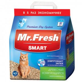 Наполнитель комкующийся Mr. Fresh Smart древесный для короткошерстных кошек 4.5 л