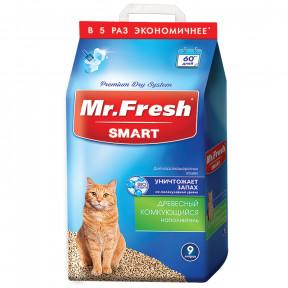 Наполнитель комкующийся Mr. Fresh Smart древесный для короткошерстных кошек 9 л
