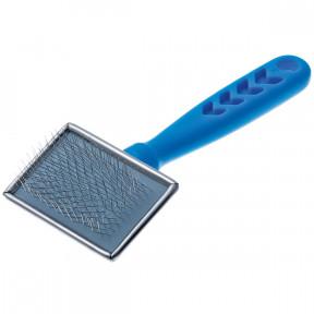 Пуходерка DeLIGHT металлическая с пластиковой синей ручкой, малая