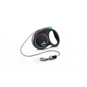 Поводок-рулетка для собак Flexi Black Design, ХS, тросовый, 3 м, до 8 кг, синий