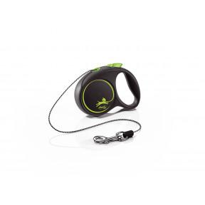 Поводок-рулетка для собак Flexi Black Design, ХS, тросовый, 3 м, до 8 кг, зеленый