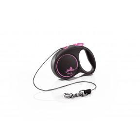 Поводок-рулетка для собак Flexi Black Design, ХS, тросовый, 3 м, до 8 кг, розовый