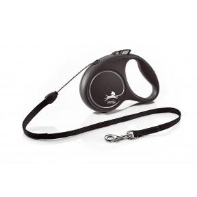 Поводок-рулетка для собак Flexi Black Design, S, тросовый, 5 м, до 12 кг, черный