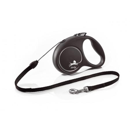 Поводок-рулетка для собак Flexi Black Design, S, тросовый, 5 м, до 12 кг, зеленый