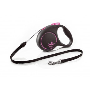 Поводок-рулетка для собак Flexi Black Design, S, тросовый, 5 м, до 12 кг, розовый