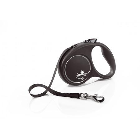 Поводок-рулетка для собак Flexi Black Design, S, ленточный, 5 м, до 15 кг, черный