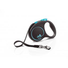 Поводок-рулетка для собак Flexi Black Design, S, ленточный, 5 м, до 15 кг, синий