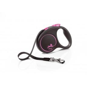 Поводок-рулетка для собак Flexi Black Design, S, ленточный, 5 м, до 15 кг, розовый