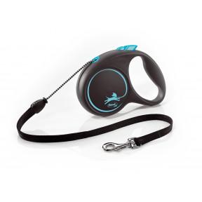 Поводок-рулетка для собак Flexi Black Design, M, тросовый, 5 м, до 20 кг, синий