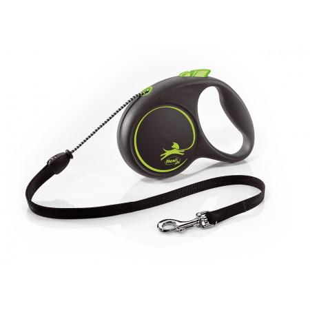 Поводок-рулетка для собак Flexi Black Design, M, тросовый, 5 м, до 20 кг, зеленый