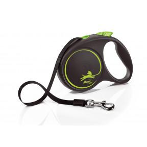Поводок-рулетка для собак Flexi Black Design, L, ленточный, 5 м, до 50 кг, зеленый