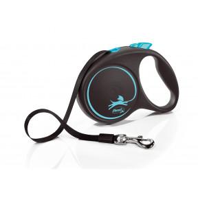 Поводок-рулетка для собак Flexi Black Design, L, ленточный, 5 м, до 50 кг, синий