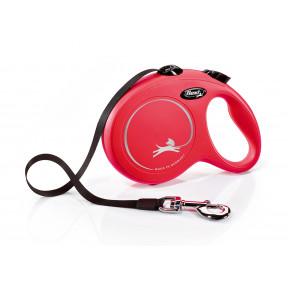 Поводок-рулетка для собак Flexi New Classic, L, ленточный, 5 м, до 50 кг, красный