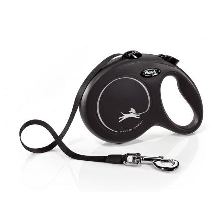 Поводок-рулетка для собак Flexi New Classic, L, ленточный, 5 м, до 50 кг, черный