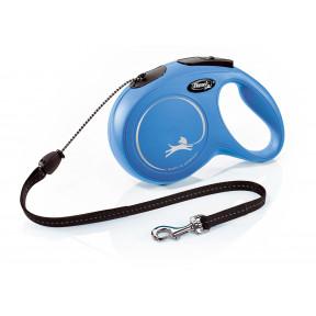 Поводок-рулетка для собак Flexi New Classic, M, тросовый, 8 м, до 20 кг, синий