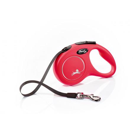 Поводок-рулетка для собак Flexi New Classic, S, ленточный, 5 м, до 15 кг, красный