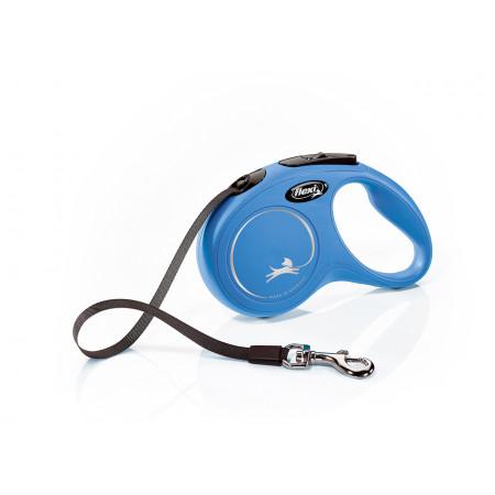 Поводок-рулетка для собак Flexi New Classic, S, ленточный, 5 м, до 15 кг, синий