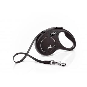 Поводок-рулетка для собак Flexi New Classic, S, ленточный, 5 м, до 15 кг, черный