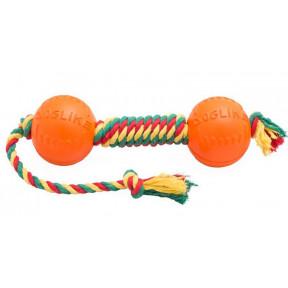 Игрушка для собак Гантель Doglike Dental Knot канатная средняя (желтый-зеленый-красный)