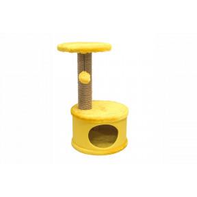 Домик-когтеточка для кошек Дарэлл Конфетти, круглый джут желтый 37х37х73 см