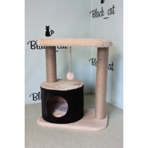 Домик-когтеточка для кошек Black Cat Луиза 1, многоуровневый комплекс джут 40х60х85 см