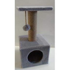 Домик-когтеточка для кошек Black Cat Том квадратный серый с полкой, джут 30x30x65 см
