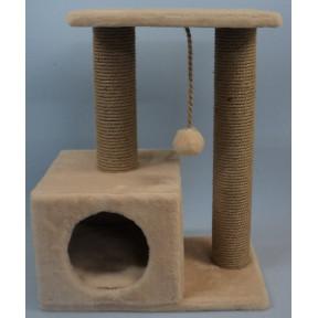 Домик-когтеточка для кошек Black Cat Энди квадратный серый с полкой, джут 30x50x65 см