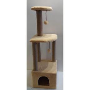 Домик-когтеточка для кошек Black Cat Мурзик угловой многоуровневый комплекс, джут 40х40х130 см