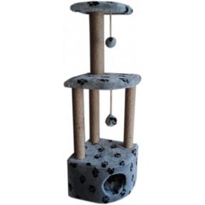 Домик-когтеточка для кошек Black Cat Барсик угловой многоуровневый комплекс, джут 40х40х90 см