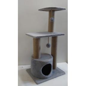 Домик-когтеточка для кошек Black Cat Круиз мноуровневый комплекс с двумя полками, джут 40x50x100 см