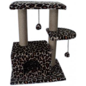 Домик-когтеточка для кошек Black Cat Маркиз многоуровневый комплекс с двумя полками, джут 40x60x80 см