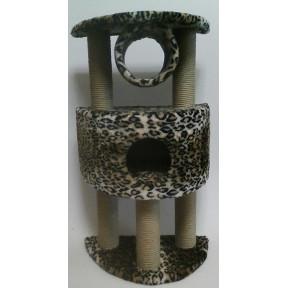 Домик-когтеточка для кошек Black Cat Персик полукруглый многоуровневый комплекс на трех когтеточках, джут 60х40х100 см