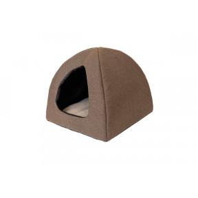 Домик для собак и кошек Дарэлл Фанза-Рогожка №2 94552 мягкий с подушкой коричневый 42х42х35 см