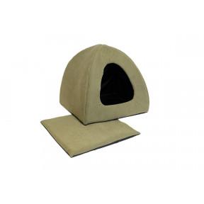 Домик для собак и кошек Дарэлл Фанза-Бархат №2 94452 мягкий с подушкой милитари 42х42х35 см