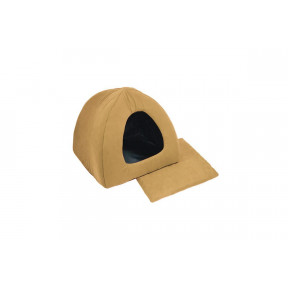 Домик для собак и кошек Дарэлл Фанза-Бархат №2 94552 мягкий с подушкой охра 42х42х35 см