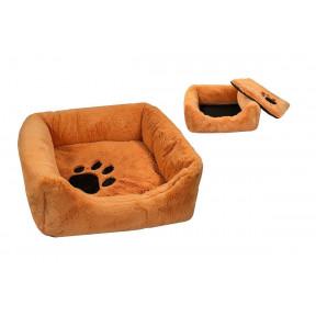 Лежанка для собак и кошек Дарэлл Zoo-M Fur Trace BELKA 9313 квадратная пухлая меховая 55х55х17 см