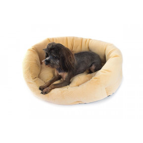 Лежанка для собак и кошек Дарэлл Zoo-M PUMA 9341 бежевая овальная пухлая с подушкой 47х39х18 см
