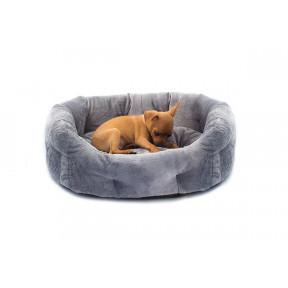 Лежанка для собак и кошек Дарэлл Zoo-M PUMA 9341 серая овальная пухлая с подушкой 47х39х18 см