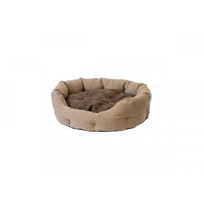 Лежак для кошек и собак Дарэлл Облако-Рогожка №3 94543 бежевый овальный пухлый 59х51х18 см