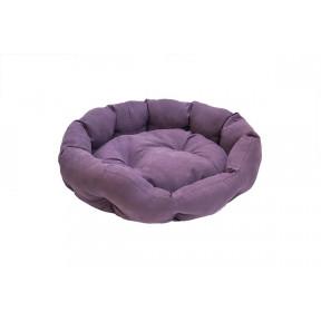 Лежак для собак и кошек Дарэлл ОБЛАКО-Бархат №3 94443 фиолетовый, овальный пухлый, 59х51х18 см