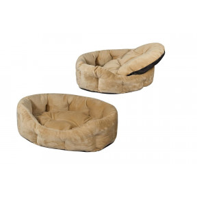 Лежанка для собак Дарэлл Zoo-M PUMA 9343 бежевая овальная пухлая с подушкой 74х59х22 см