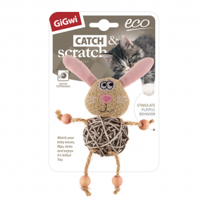 Игрушка для кошек GiGwi Catch & Scratch Eco Заяц с плетеным мячиком и с колокольчиком (75522) 8 см