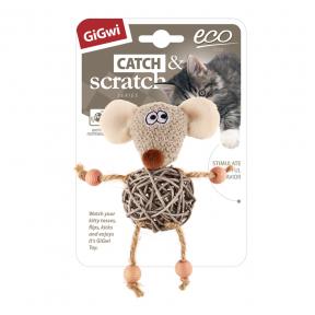 Игрушка для кошек GiGwi Catch & Scratch Eco Мышка с плетеным мячиком и с колокольчиком (75521) 8 см