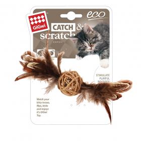 Игрушка для кошек GiGwi Catch & Scratch Плетеный мячик с колокольчиком и пером (75438) 13 см