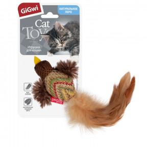 Игрушка для кошек GiGwi Catch & Scratch Птичка с перьями (75264) 10 см